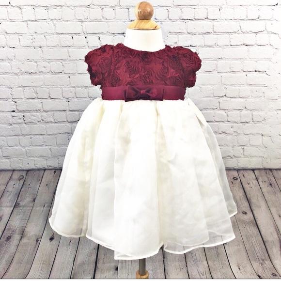 99c63c5cecd4 Nanette Baby Dresses   Burgundy Cream Dress   Poshmark